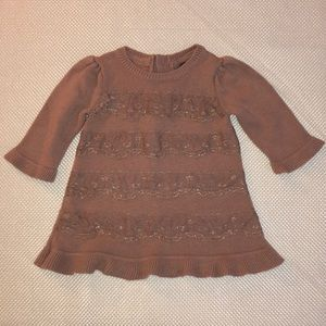 EUC Baby Gap lace trimmed sweater dress 3-6 months
